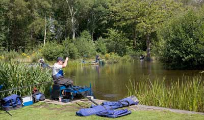 Bron Eifion Coarse Fishing lake during the summer - featured in Angling Times and The Anglers Mail